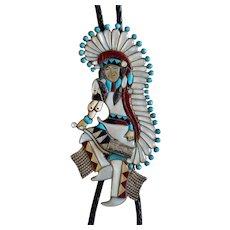 Vintage Zuni Silver Bolo Tie Plains Dancer Inlaid