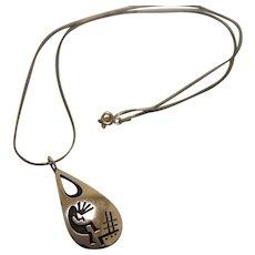 Hopi Silver Pendant Kokopelli Loren Sakeva Qumamunu