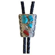 Silver Zuni Bolo Tie Turquoise Coral B N Nastacio