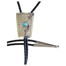 Vintage Navajo Silver Bolo Tie Turquoise Hand Stamped
