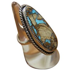 Silver Navajo Style Ring Turquoise