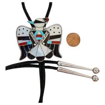 Vintage Zuni Silver Bolo Tie Inlaid B and C Shack