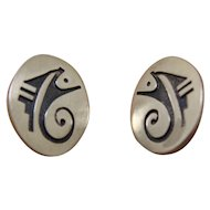Silver Hopi Earrings Dawn Lucas Abstract