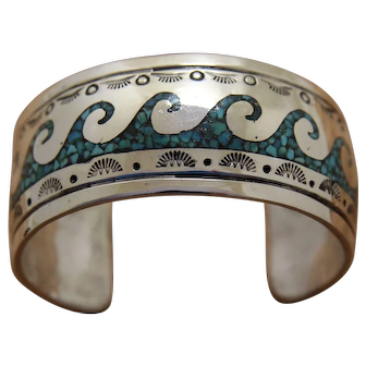 Vintage Navajo Silver Bracelet Inlaid Turquoise Les Holden