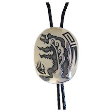 Hopi Silver Bolo Tie Bear Design Terry Wadsworth
