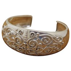 Vintage Silver Cuff Bracelet Decorated