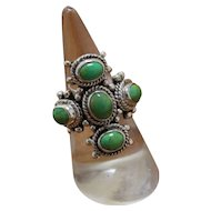 Vintage Silver Ring Green Stones Decorated
