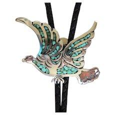 Vintage Silver Bolo Tie Navajo Inlaid Eagle