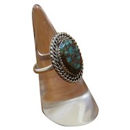 Navajo Silver Turquoise Ring Spider Web