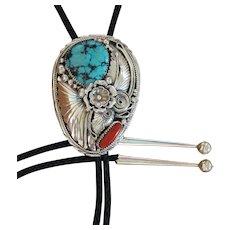 Vintage Navajo Silver Bolo Tie Applique Turquoise Coral Gomez