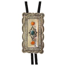 Vintage Navajo Bolo Tie Turquoise Orange Shell