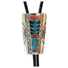 Navajo Silver Bolo Tie Inlaid Turquoise Wilbert Grey
