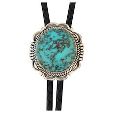 Navajo Silver Bolo Tie Turquoise Will Denetdale