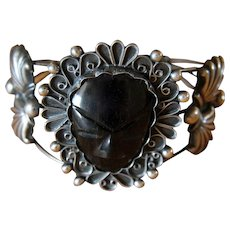 Vintage Mexican Silver Bracelet Warrior Face