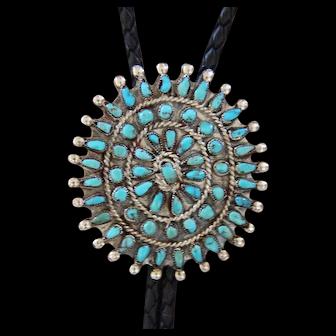 Vintage Zuni Silver Bolo Tie Turquoise Petit Point