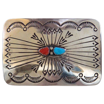 Navajo Silver Belt Buckle Turquoise Coral