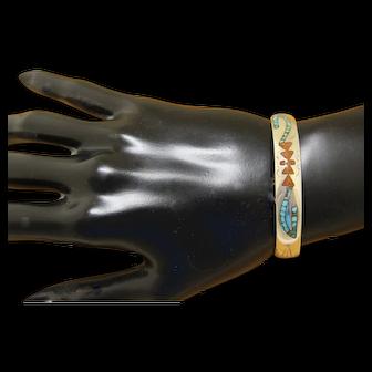 Navajo Silver Bracelet Inlaid Stone Ortega Shop