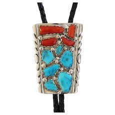 Vintage Silver Zuni Bolo Tie Turquoise Coral Wayne Cheama