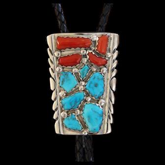 Vintage Silver Zuni Bolo Tie Turquoise Coral Wayne Cheama