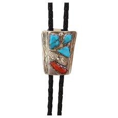 Zuni Silver Bolo Tie Turquoise Coral