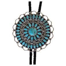 Zuni Silver Bolo Tie Petit Point Turquoise Classic