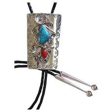 Vintage Navajo Silver Bolo Tie Turquoise Coral