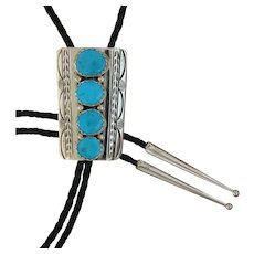 Navajo Silver Bolo Tie Turquoise Stamped