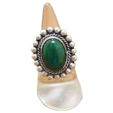 Vintage Mexican Silver Ring Green Stone
