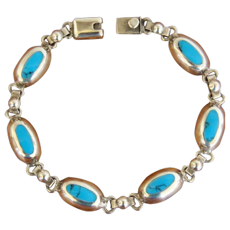Vintage Mexican Silver Bracelet Links Turquoise