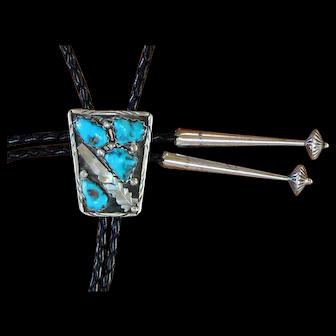 Vintage Zuni Silver Bolo Tie Turquoise F Cheama