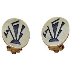 Vintage Hopi Silver Earrings Clip Backs