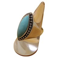 Vintage Silver Turquoise Ring Bold