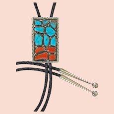 Vintage Zuni Bolo Tie Turquoise Coral Wayne Cheama