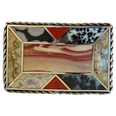 Vintage Lapidary Belt Buckle Hand Made