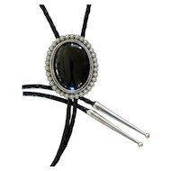 Silver Bolo Tie Black Onyx Southwestern