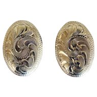 Vintage Mexican Silver Earrings Engraved
