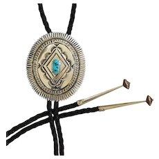 Navajo Silver Bolo Tie Turquoise Leonard Maloney
