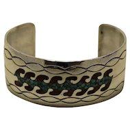 Vintage Navajo Silver Bracelet Inlaid Turquoise Coral