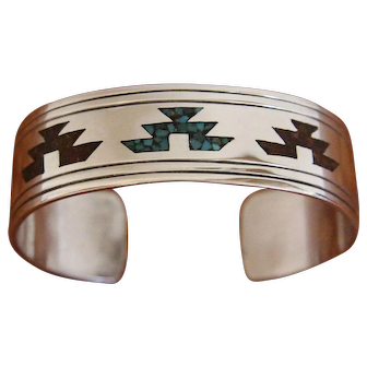 Vintage Navajo Silver Bracelet Inlaid Chee Keams