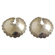 Navajo Silver Earrings Concho Style