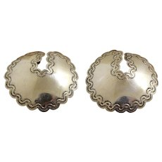 Navajo Silver Earrings Concho Style