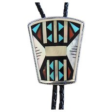 Zuni Silver Bolo Tie Abstract Inlaid Design