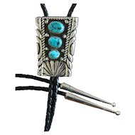 Silver Navajo Bolo Tie Vintage Turquoise