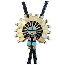Vintage Zuni Silver Bolo Tie Inlaid Victoria Unkestine
