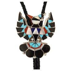 Vintage Zuni Inlaid Bolo Tie Delwin Gasper