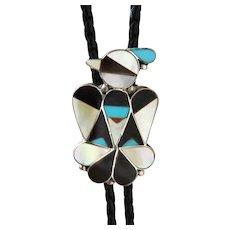 Vintage Zuni Silver Bolo Tie Inlaid