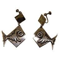 Frank Miraglia Silver Earrings 1950s Studio Modernist