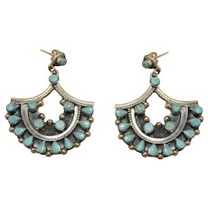 Mexican Silver Turquoise Earrings Southwestern Style
