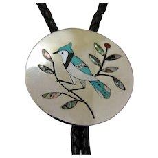 Zuni Silver Bolo Tie DN Edaakie Inlaid Bird