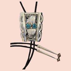 Vintage Navajo Silver Bolo Tie R Bahe